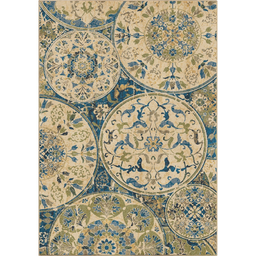 Orian Rugs Mariner Field Blue Rectangular Indoor Machine-made Nature Area Rug (Common: 5 x 8; Actual: 5.25-ft W x 7.5-ft L)