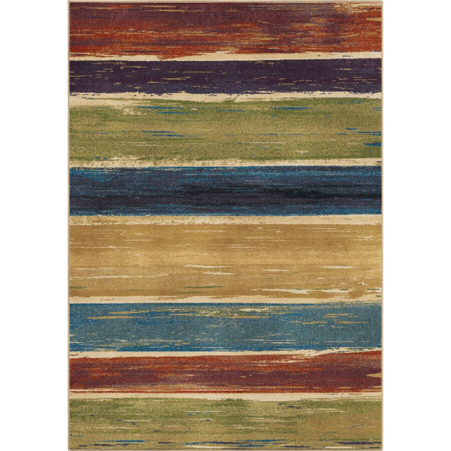 Orian Rugs Stretched Lines Multi Rectangular Indoor Machine-made Novelty Area Rug (Common: 5 x 8; Actual: 5.25-ft W x 7.5-ft L)