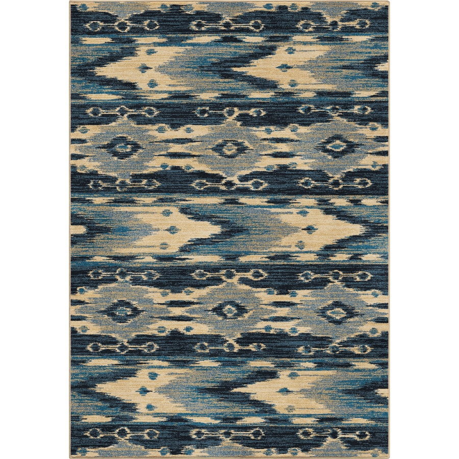 Orian Rugs Mountain Spring Blue Rectangular Indoor Machine-made Novelty Area Rug (Common: 5 x 8; Actual: 5.25-ft W x 7.5-ft L)