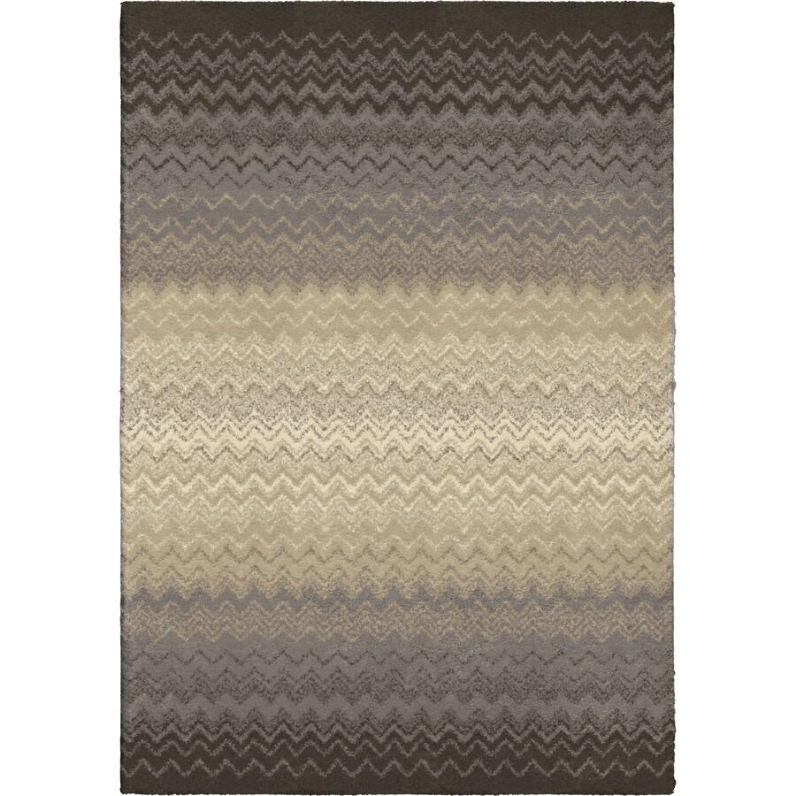 Orian Rugs Waving Chevron Gray Rectangular Indoor Machine-made Novelty Area Rug (Common: 5 x 8; Actual: 5.25-ft W x 7.5-ft L)