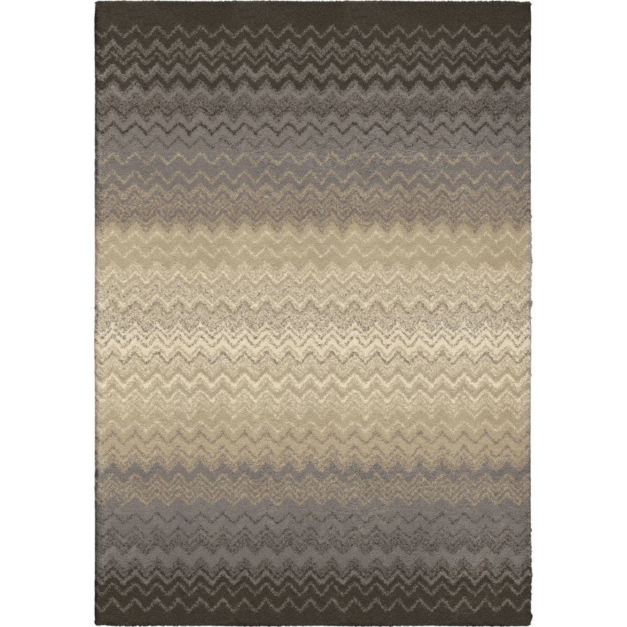Orian Rugs Waving Chevron Gray Rectangular Indoor Machine-made Novelty Area Rug (Common: 8 x 11; Actual: 7.83-ft W x 10.83-ft L)