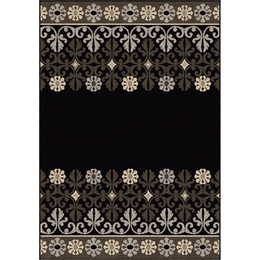 Orian Rugs Crochet Border Black Rectangular Indoor Machine-made Nature Area Rug (Common: 5 x 8; Actual: 5.25-ft W x 7.5-ft L)