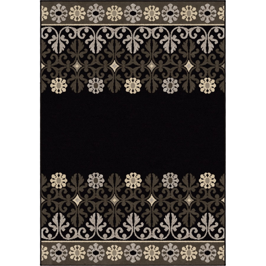 Orian Rugs Crochet Border Black Rectangular Indoor Machine-made Nature Area Rug (Common: 8 x 11; Actual: 7.83-ft W x 10.83-ft L)