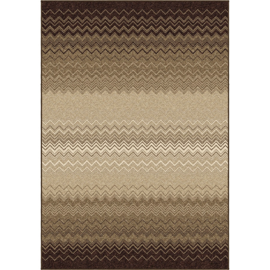 Orian Rugs Waving Chevron Taupe Rectangular Indoor Machine-made Novelty Area Rug (Common: 5 x 8; Actual: 5.25-ft W x 7.5-ft L)
