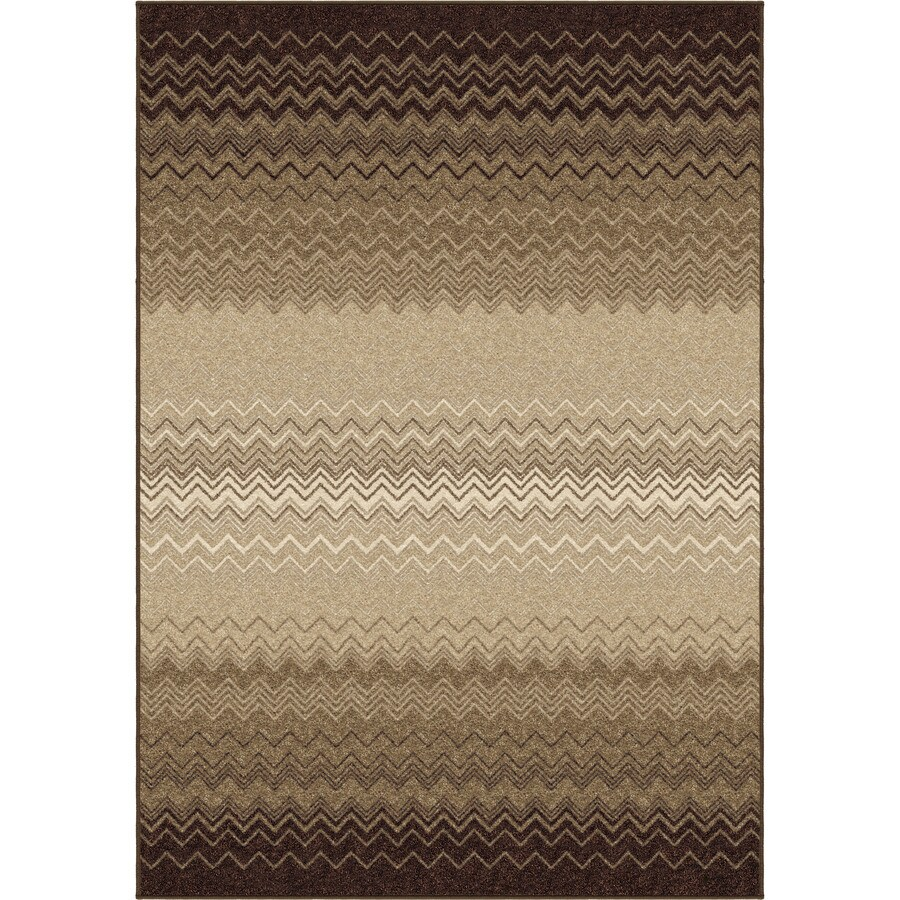 Orian Rugs Waving Chevron Taupe Rectangular Indoor Machine-made Novelty Area Rug (Common: 8 x 11; Actual: 7.83-ft W x 10.83-ft L)