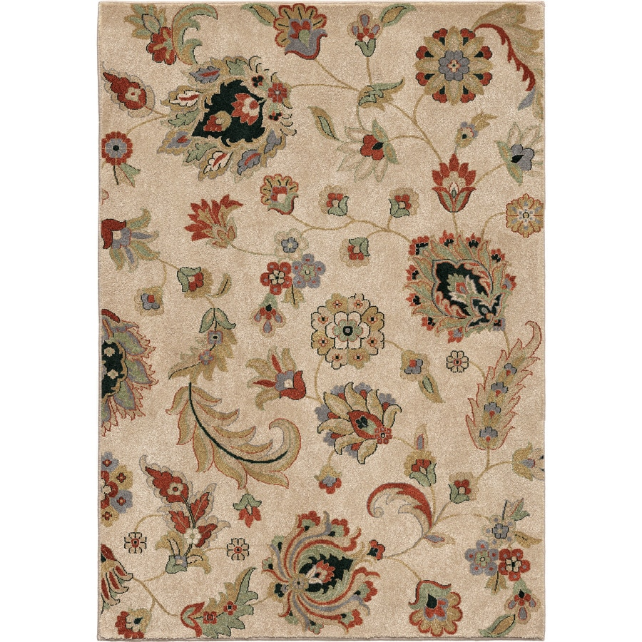Orian Rugs Flower Fields Beige Rectangular Indoor Machine-made Nature Area Rug (Common: 5 x 8; Actual: 5.25-ft W x 7.5-ft L)