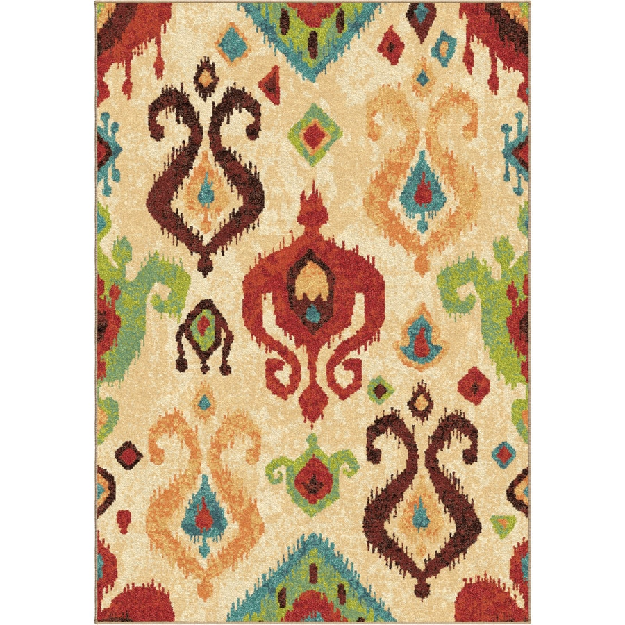 Orian Rugs Vibrance Ivory Rectangular Indoor Machine-made Southwestern Area Rug (Common: 7 x 10; Actual: 6.58-ft W x 9.67-ft L)