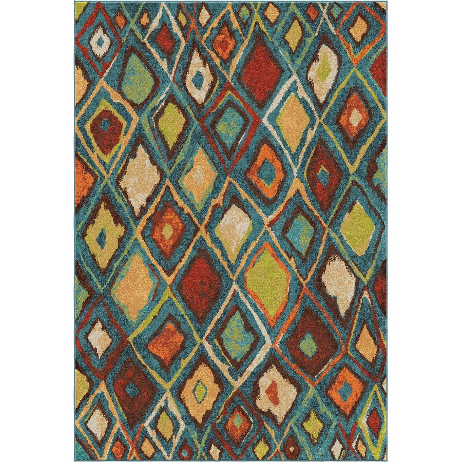 Orian Rugs Dazzling Diamond Blue Indoor Novelty Area Rug (Common: 5 x 8; Actual: 5.25-ft W x 7.5-ft L)