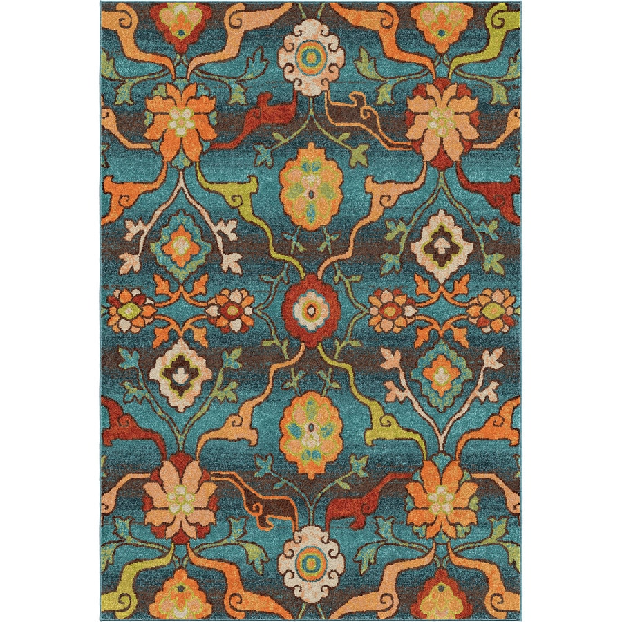 Orian Rugs Punjab Blue Indoor Nature Area Rug (Common: 5 x 8; Actual: 5.25-ft W x 7.5-ft L)