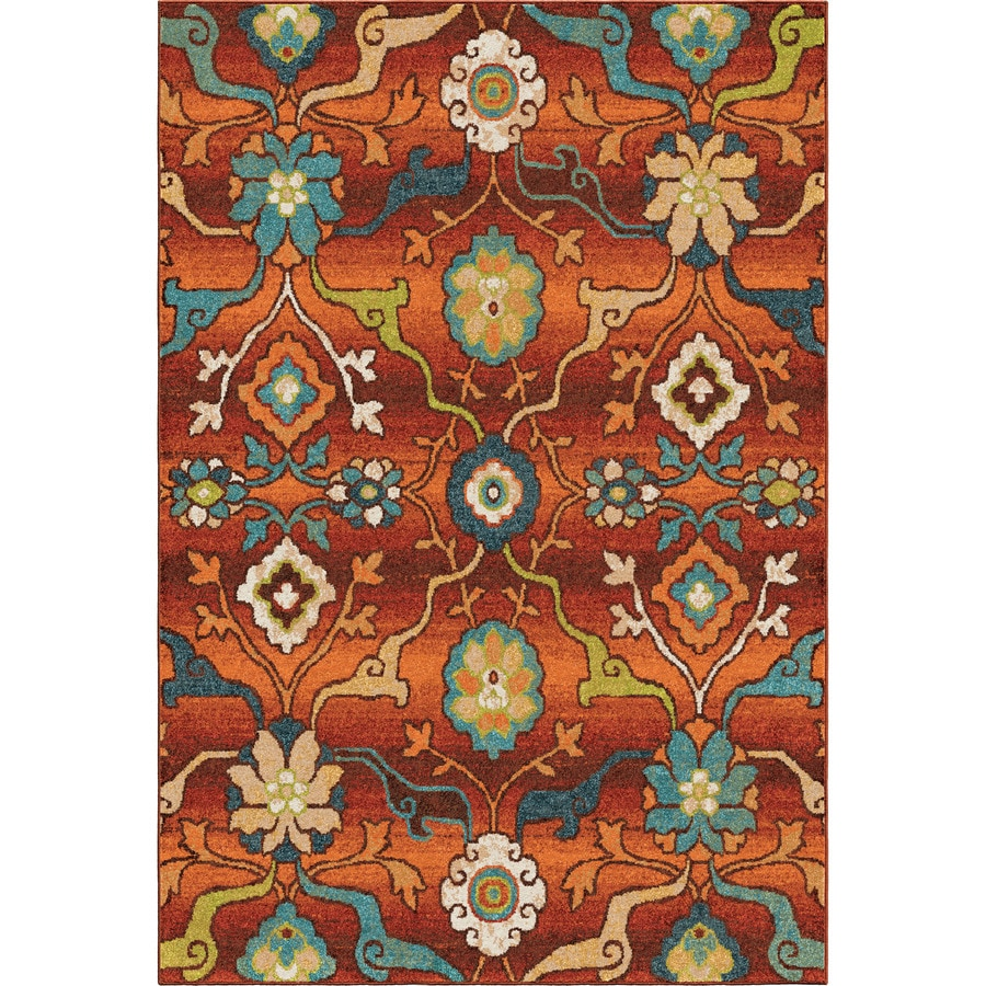 Orian Rugs Punjab 8 X 11 Red Indoor Floral Botanical Area Rug In The Rugs Department At Lowes Com