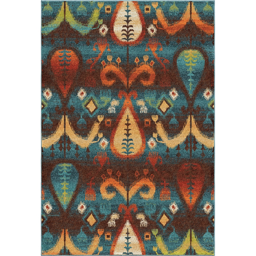 Orian Rugs Native Stories Blue Indoor Novelty Area Rug (Common: 5 x 8; Actual: 5.25-ft W x 7.5-ft L)