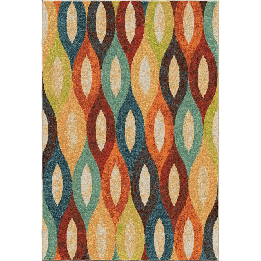 Orian Rugs Dancing Stream Multi Rectangular Indoor Machine-made Novelty Area Rug (Common: 5 x 8; Actual: 5.25-ft W x 7.5-ft L)
