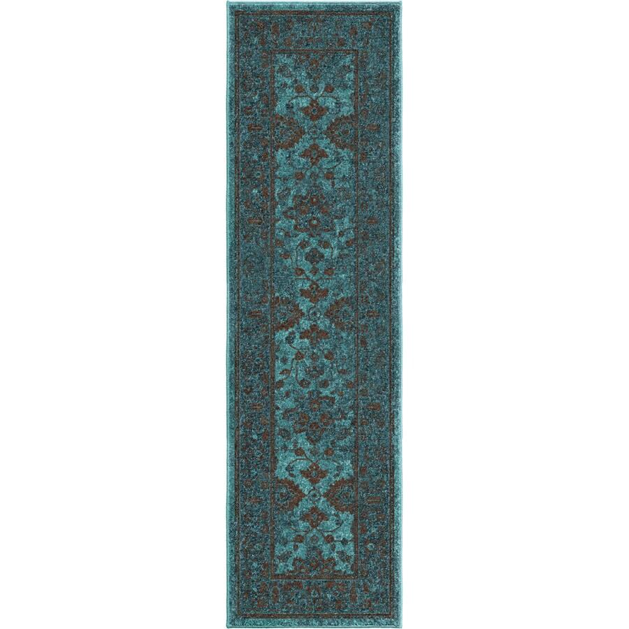 Orian Rugs Grimaldi Blue Rectangular Indoor Machine-made Oriental Runner (Common: 2 x 8; Actual: 2.25-ft W x 8-ft L)