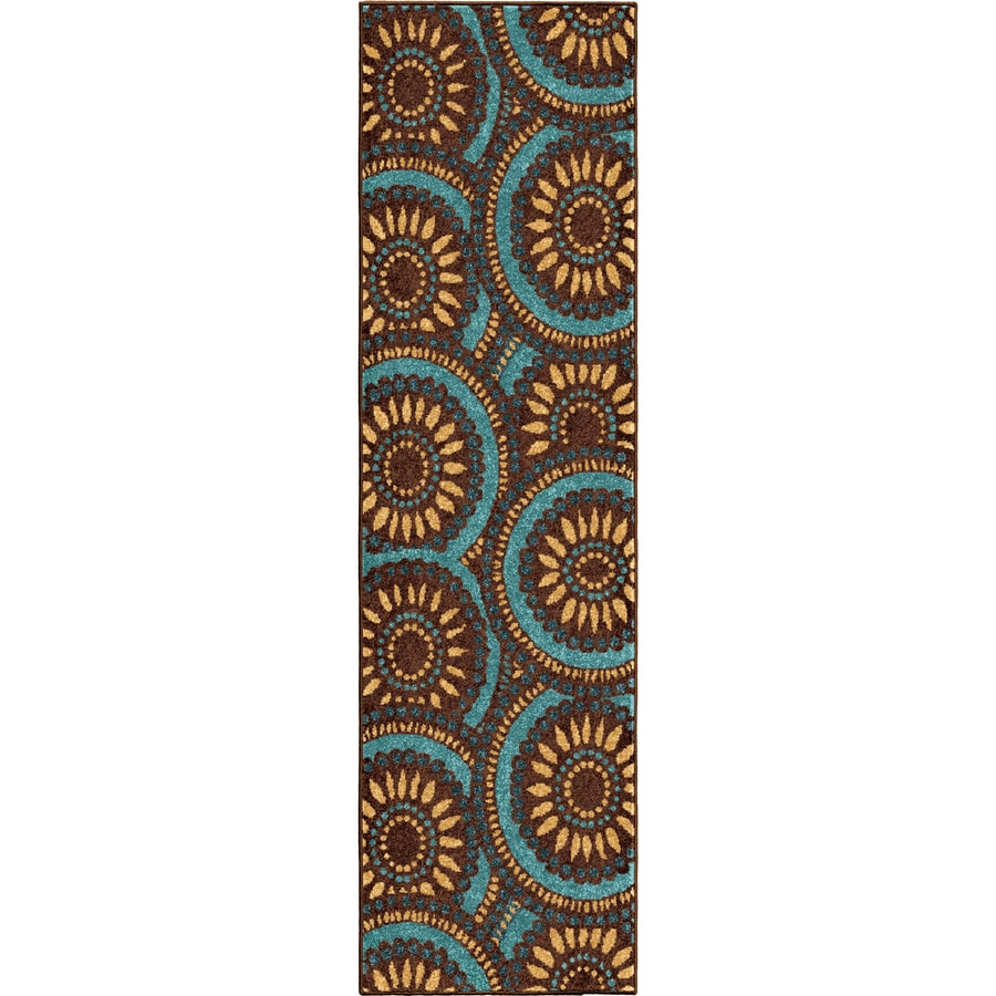 Orian Rugs Pinwheel Blue Rectangular Indoor/Outdoor Machine-made Novelty Runner (Common: 2 x 8; Actual: 2.25-ft W x 8-ft L)