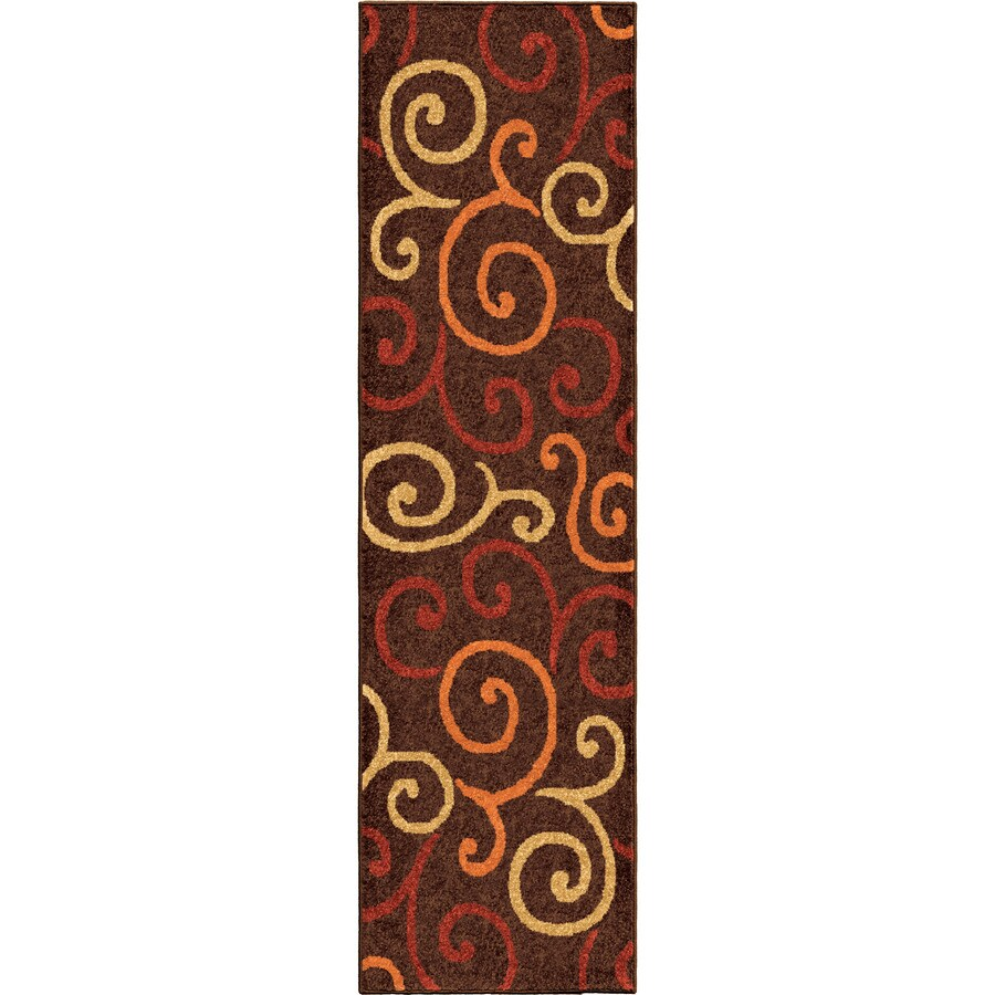 Orian Rugs Multi Whirls Brown Rectangular Indoor/Outdoor Machine-made Novelty Runner (Common: 2 x 8; Actual: 2.25-ft W x 8-ft L)