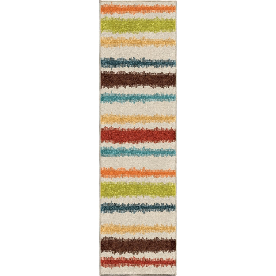 Orian Rugs Lines of Color Indoor/Outdoor Novelty Runner (Common: 2 x 8; Actual: 2.25-ft W x 8-ft L)