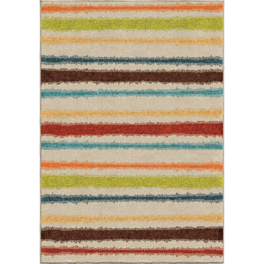 Orian Rugs Lines of Color Multi Rectangular Indoor/Outdoor Machine-made Novelty Area Rug (Common: 7 x 10; Actual: 6.5-ft W x 9.67-ft L)