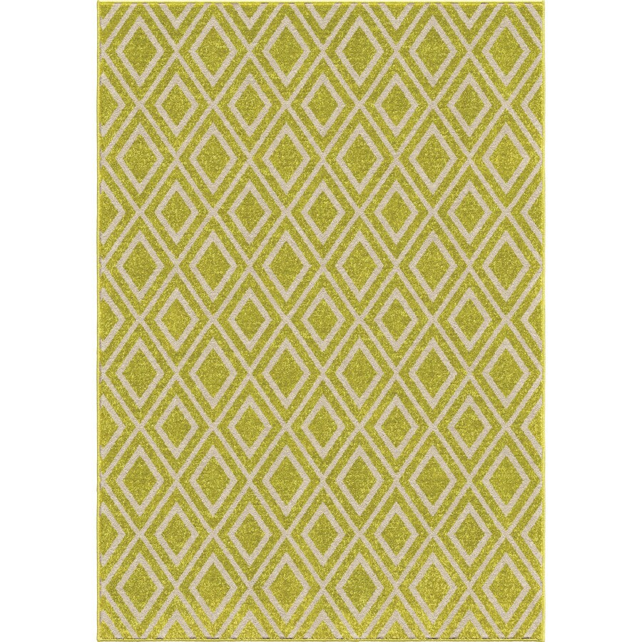 Orian Rugs Diamond Fencing Green Rectangular Indoor/Outdoor Machine-made Novelty Area Rug (Common: 5 x 8; Actual: 5.17-ft W x 7.5-ft L)