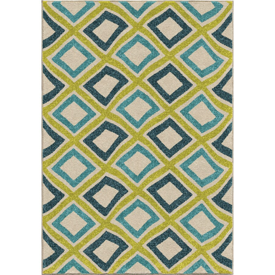 Orian Rugs Swirly Squares Indoor/Outdoor Novelty Area Rug (Common: 5 x 8; Actual: 5.17-ft W x 7.5-ft L)