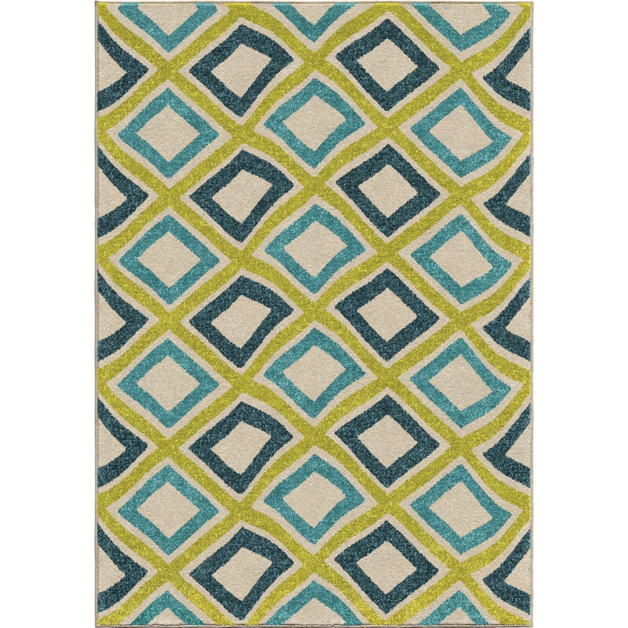 Orian Rugs Swirly Squares Multi Rectangular Indoor/Outdoor Machine-made Novelty Area Rug (Common: 8 x 11; Actual: 7.67-ft W x 10.83-ft L)
