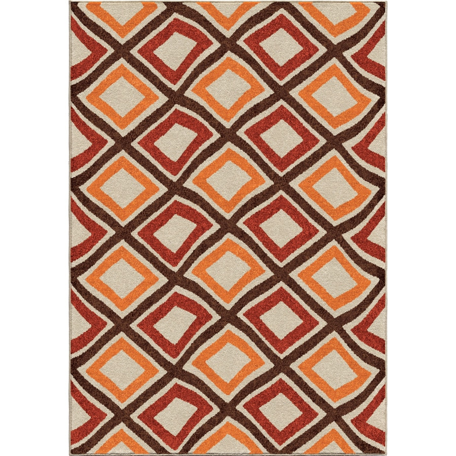 Orian Rugs Swirly Squares Multi Rectangular Indoor/Outdoor Machine-made Novelty Area Rug (Common: 5 x 8; Actual: 5.17-ft W x 7.5-ft L)