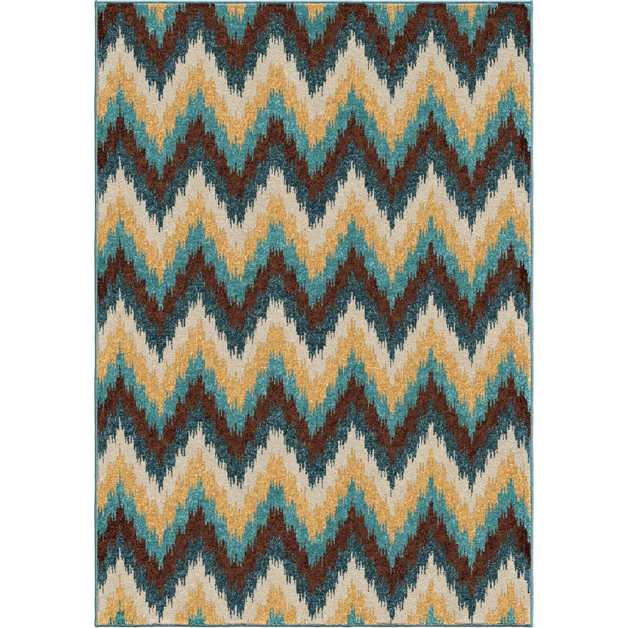 Orian Rugs Roaring Waves Multi Rectangular Indoor/Outdoor Machine-made Novelty Area Rug (Common: 8 x 11; Actual: 7.67-ft W x 10.83-ft L)