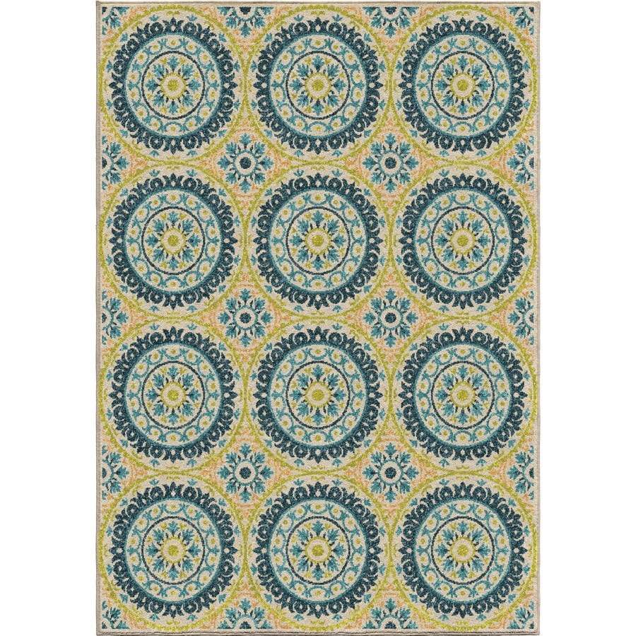 Orian Rugs Twirling Medall Multi Rectangular Indoor/Outdoor Machine-made Nature Area Rug (Common: 5 x 8; Actual: 5.17-ft W x 7.5-ft L)