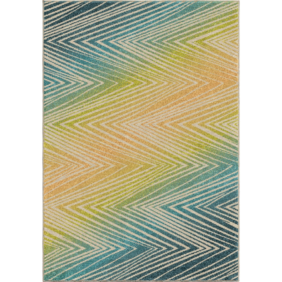 Orian Rugs Ople Chevron Multi Rectangular Indoor/Outdoor Machine-made Novelty Area Rug (Common: 8 x 11; Actual: 7.67-ft W x 10.83-ft L)