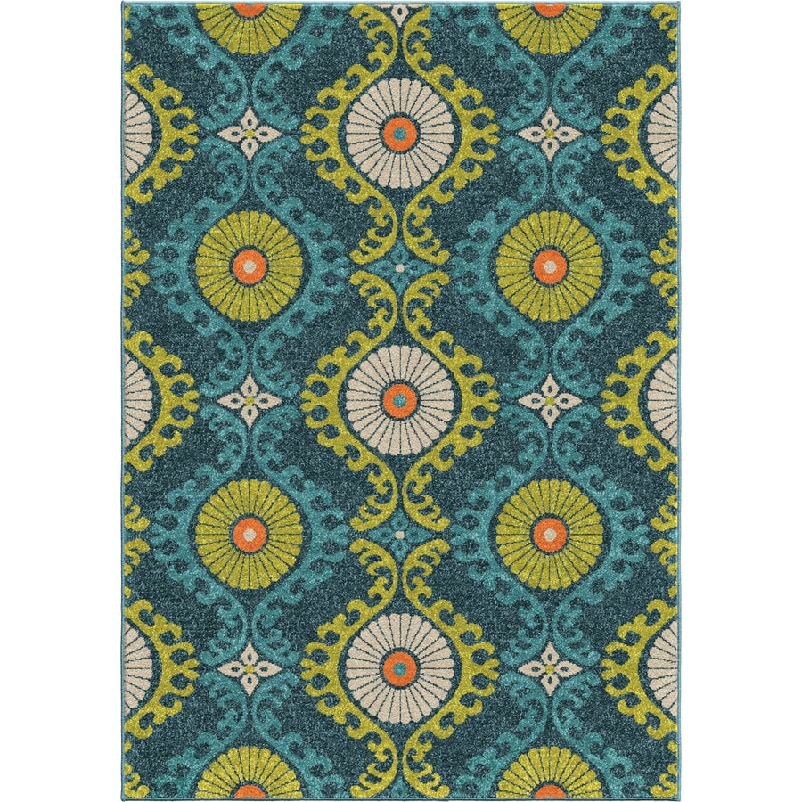 Orian Rugs Floating Floral Blue Rectangular Indoor/Outdoor Machine-made Nature Area Rug (Common: 5 x 8; Actual: 5.17-ft W x 7.5-ft L)