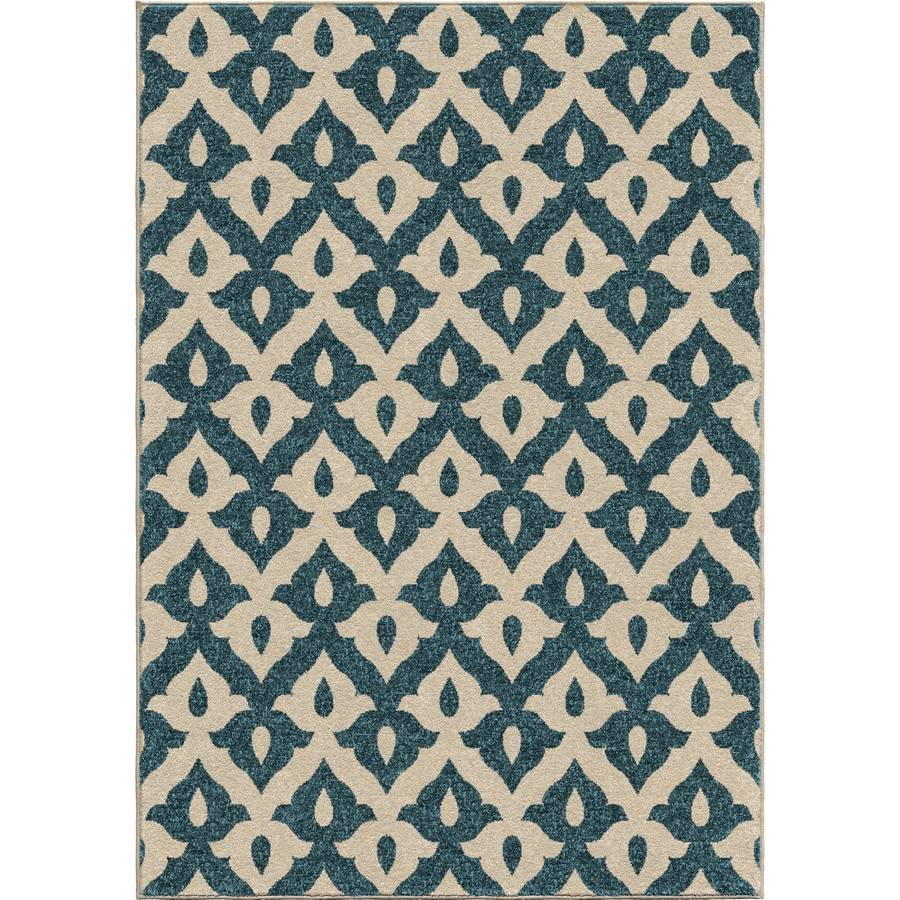 Orian Rugs Family Crest Blue Rectangular Indoor/Outdoor Machine-made Nature Area Rug (Common: 5 x 8; Actual: 5.17-ft W x 7.5-ft L)
