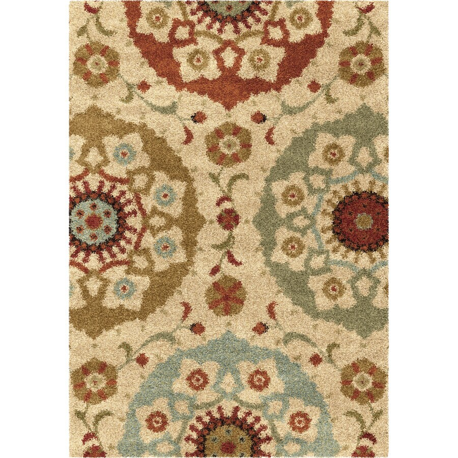 Orian Rugs Floral Emblem Multi Rectangular Indoor Machine-made Nature Area Rug (Common: 5 x 8; Actual: 5.25-ft W x 7.5-ft L)