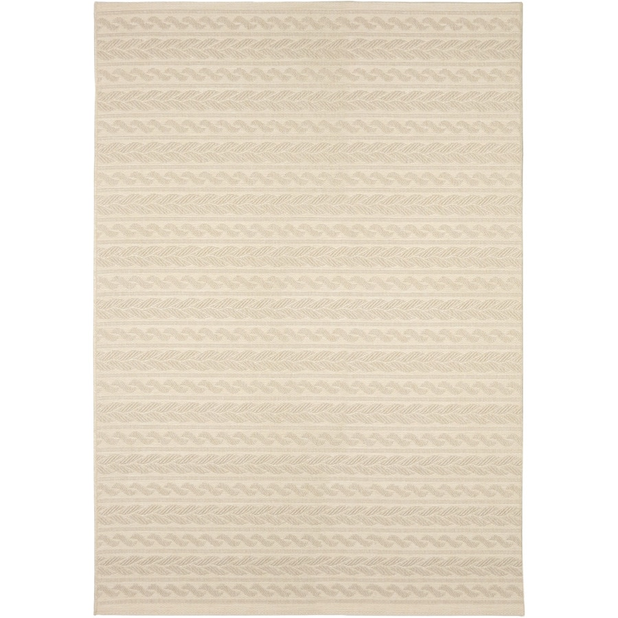 Orian Rugs Cableknots Ivory Rectangular Indoor/Outdoor Machine-Made Area Rug (Common: 5 x 7; Actual: 5.25-ft W x 7-ft L)