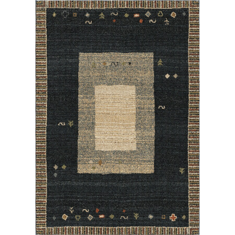 Orian Rugs Border Landa Dk Blue Rectangular Indoor Machine-made Novelty Area Rug (Common: 8 x 11; Actual: 7.83-ft W x 10.83-ft L)