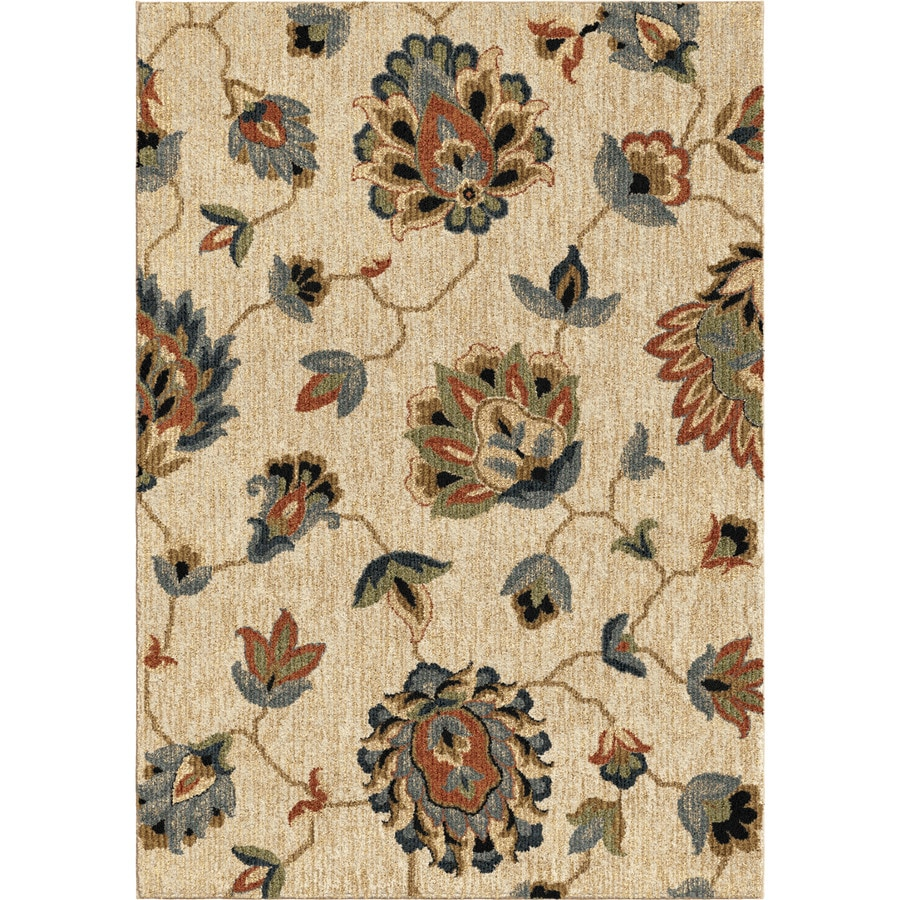 Orian Rugs Floral Beaches Beige Rectangular Indoor Machine-made Nature Area Rug (Common: 8 x 11; Actual: 7.83-ft W x 10.83-ft L)