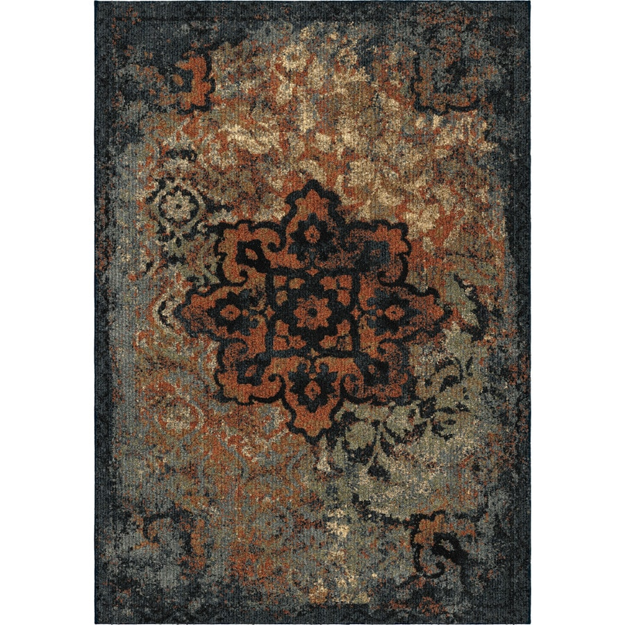 Orian Rugs Elegant Medall Blue Rectangular Indoor Machine-made Moroccan Area Rug (Common: 5 x 8; Actual: 5.25-ft W x 7.5-ft L)