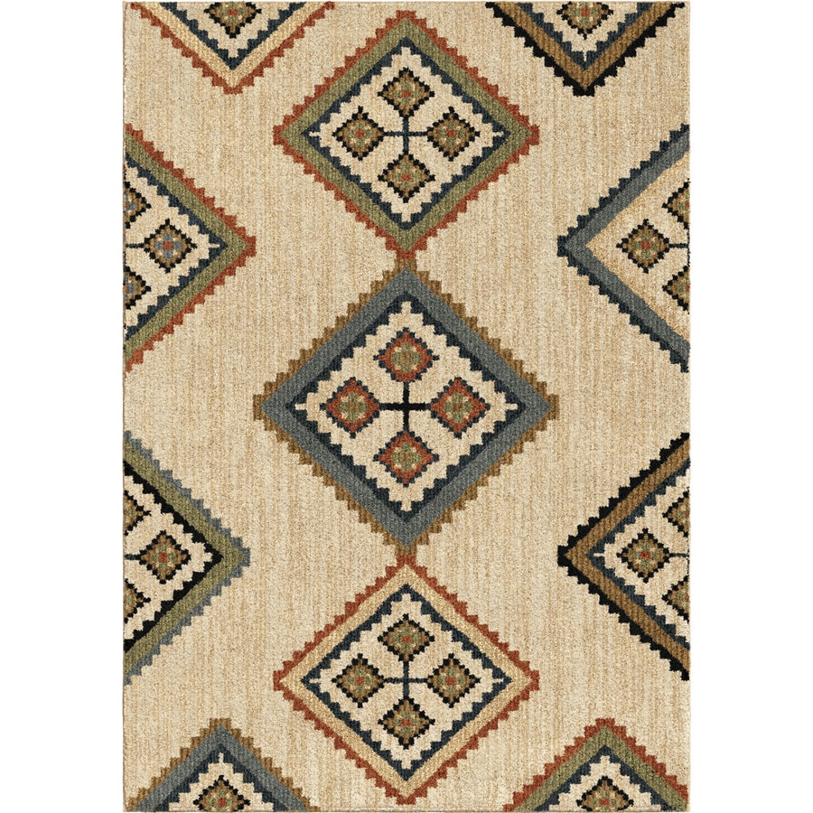 Orian Rugs Locked Geos Beige Rectangular Indoor Machine-made Novelty Area Rug (Common: 5 x 8; Actual: 5.25-ft W x 7.5-ft L)