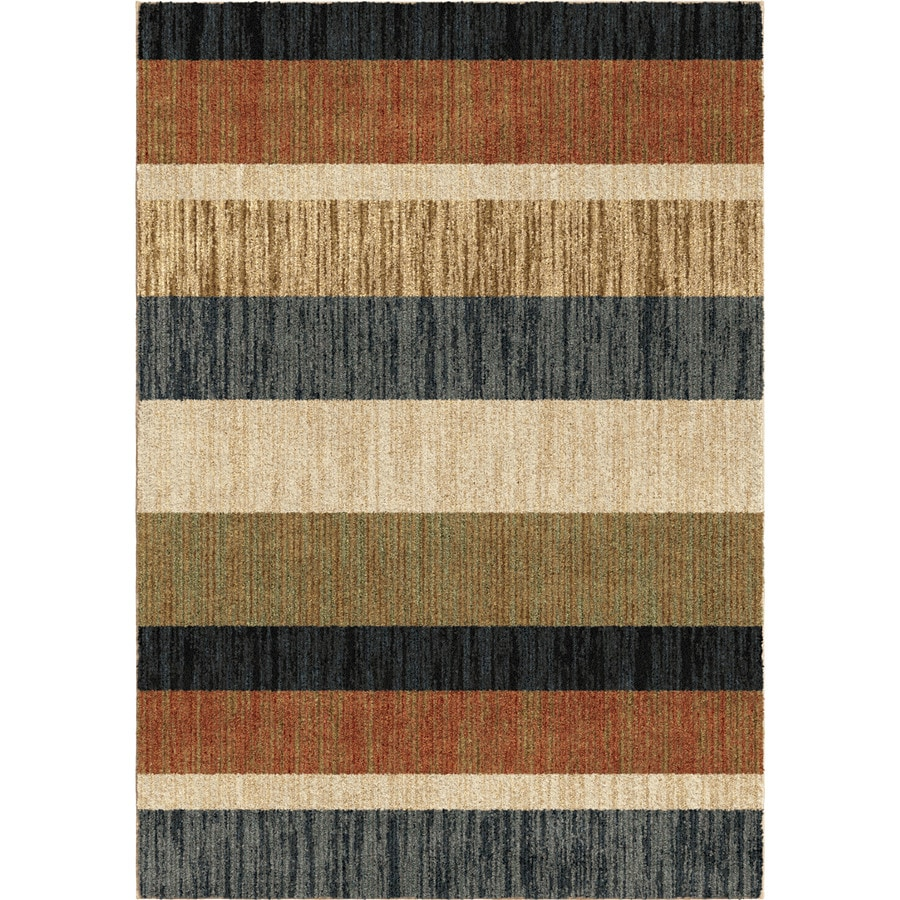 Orian Rugs Layered Sand Beige Rectangular Indoor Machine-made Novelty Area Rug (Common: 5 x 8; Actual: 5.25-ft W x 7.5-ft L)