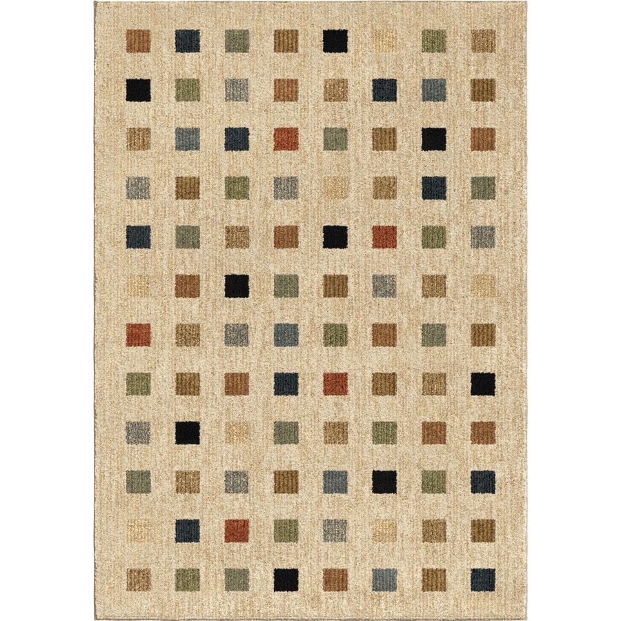 Orian Rugs City Squares Beige Rectangular Indoor Machine-made Novelty Area Rug (Common: 8 x 11; Actual: 7.83-ft W x 10.83-ft L)