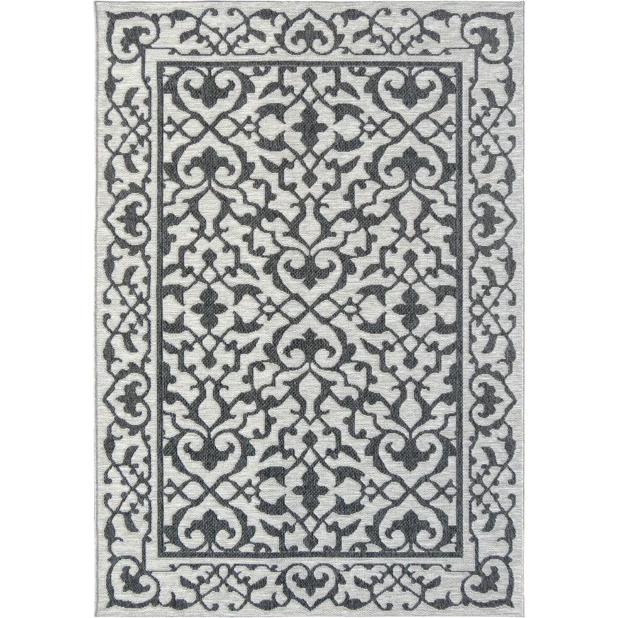 Orian Rugs Alexa Charcoal Rectangular Indoor/Outdoor Machine-made Coastal Area Rug (Common: 8 x 11; Actual: 7.58-ft W x 10.83-ft L)