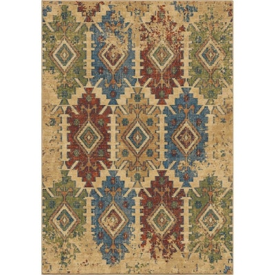 Orian Rugs Bohemian Distressed Borego Medallion White Indoor