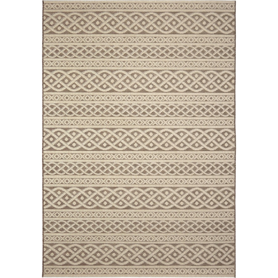 allen + roth Ottolin Sand Rectangular Indoor/Outdoor Machine-Made Coastal Area Rug (Common: 8 x 10; Actual: 7.58-ft W x 10-ft L)