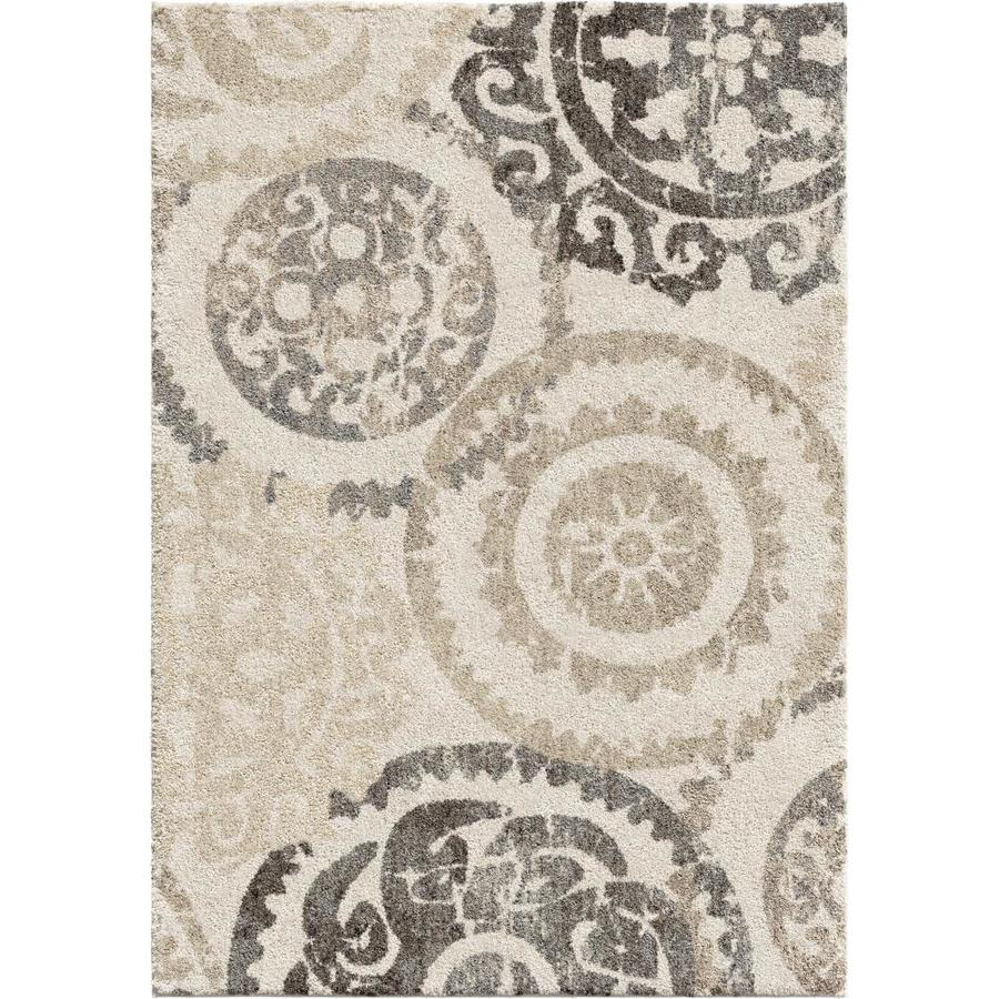 Orian Rugs Super Shag Stencil 9 X 13 Off White Indoor Outdoor Floral Botanical Mid Century Modern Area Rug In The Rugs Department At Lowes Com