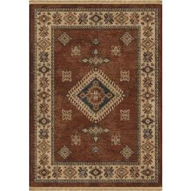 allen + roth Karatonn Dark Red Rectangular Indoor Machine-Made Southwestern Area Rug (Common: 5 x 8; Actual: 5.3-ft W x 7.6-ft L)
