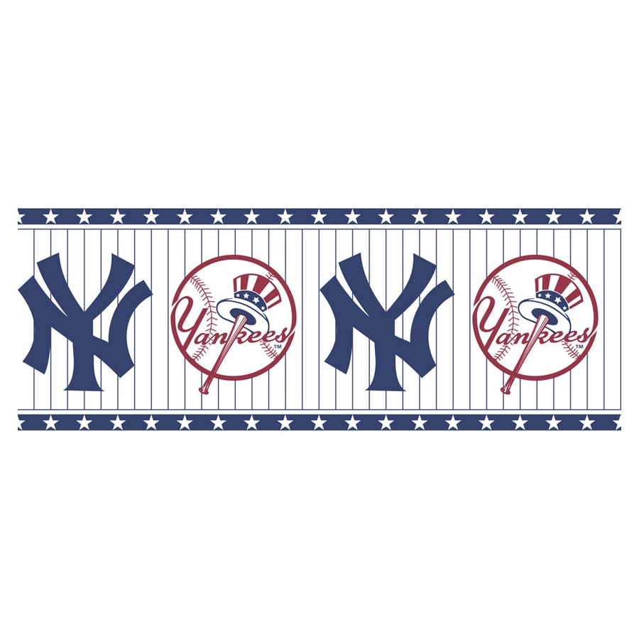 Allen Roth Blue And White NY Yankees Wallpaper Border