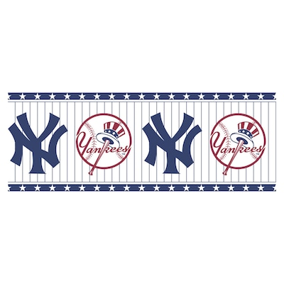 Allen Roth Blue And White N Y Yankees Wallpaper Border At