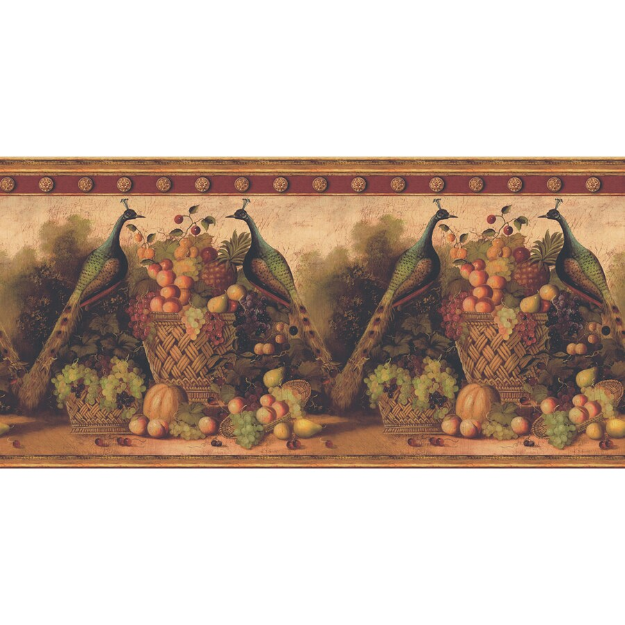 "allen + roth 13-1/2"" Red Peacocks And Fruit Prepasted Wallpaper Border"