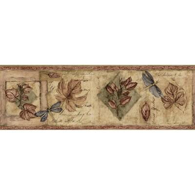 Waverly 6 7 8 Burgundy Textured Leaf Prepasted Wallpaper Border