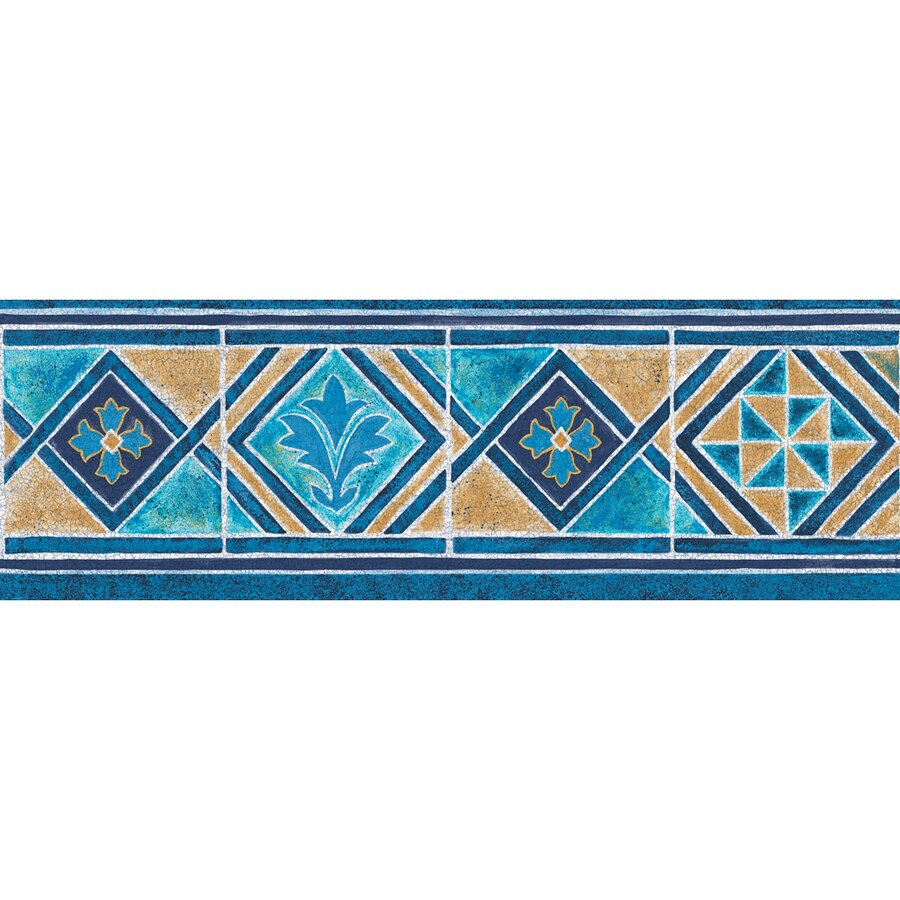 """allen + roth 6-7/8"""" Blue And Tan Moroccan Tile Prepasted Wallpaper Border"""