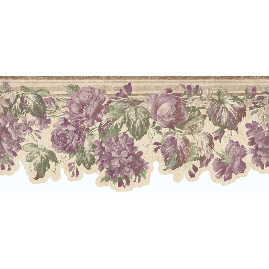 "allen + roth 8-3/4"" Mauve Roses Die-Cut Prepasted Wallpaper Border"