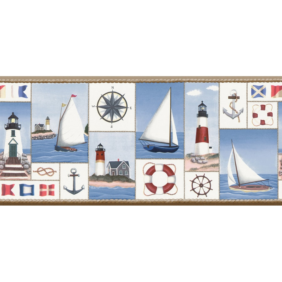 """Shop allen + roth 8-1/4"""" Blue Nautical Collage Prepasted ..."""